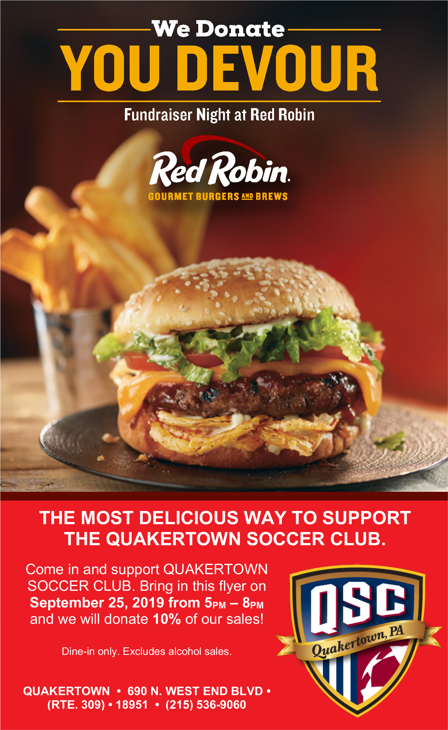 QSC Night at Red Robin - Wednesday 9/25 5-8 PM!!